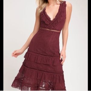 Lulu's brynn burgundy wine lace ruffled midi dress